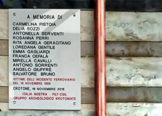 Targa Commemorativa Incidente Ferroviario 16-11-1989