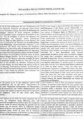 Pitagora nelle testimonianze preplatoniche. Pag. 1